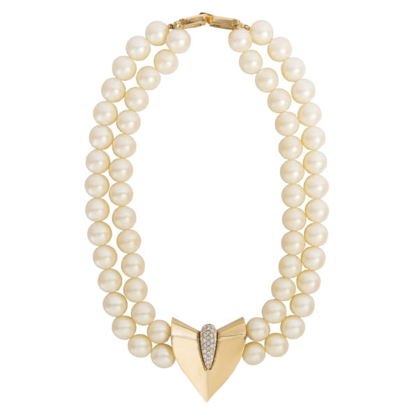 Vintage arrow shape pearl necklace