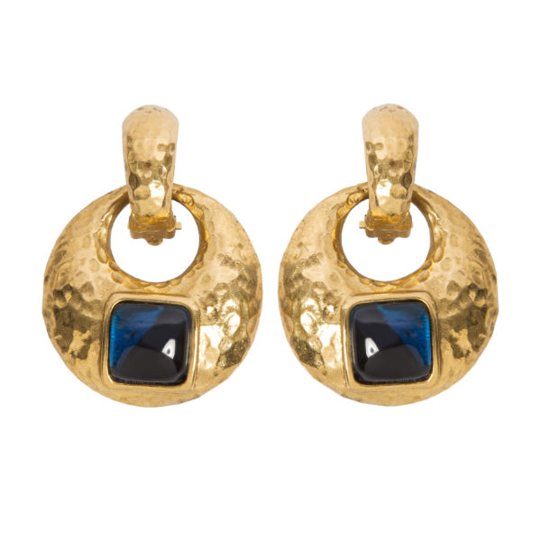 Vintage gold blue stone earrings