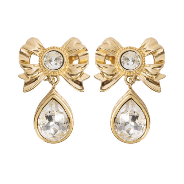 Vintage crystal bow gold earrings