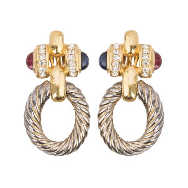 Vintage gold and silver doorknocker earrings