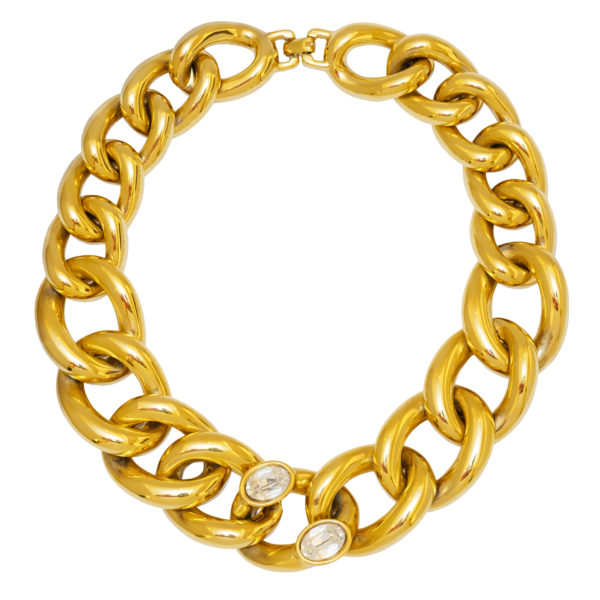 Vintage gold chain link necklace with stones