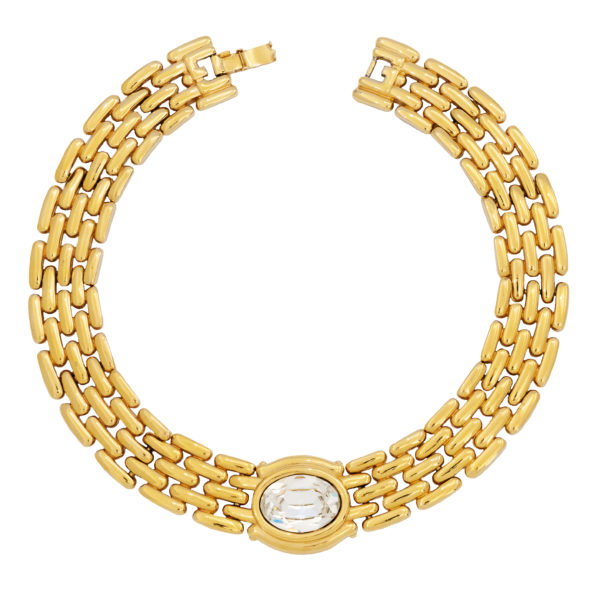VINTAGE GOLD WIDE CHOKER WITH STONE GIVENCHY
