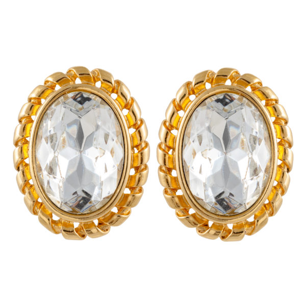 Vintage crystal stone oval earrings