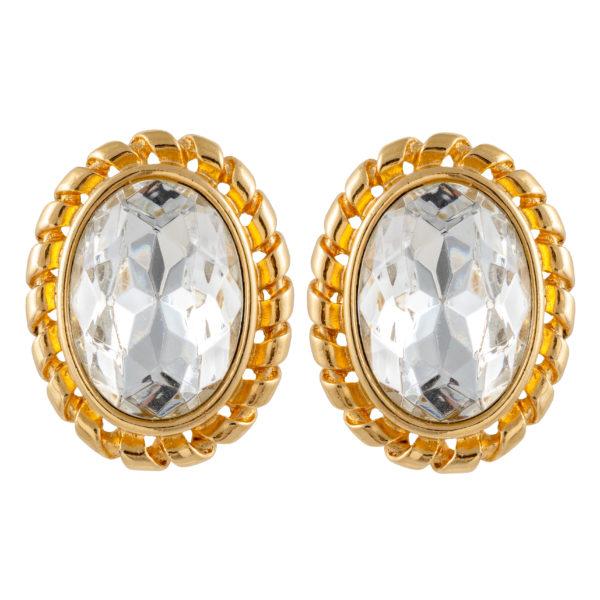 Vintage crystal stone oval earrings