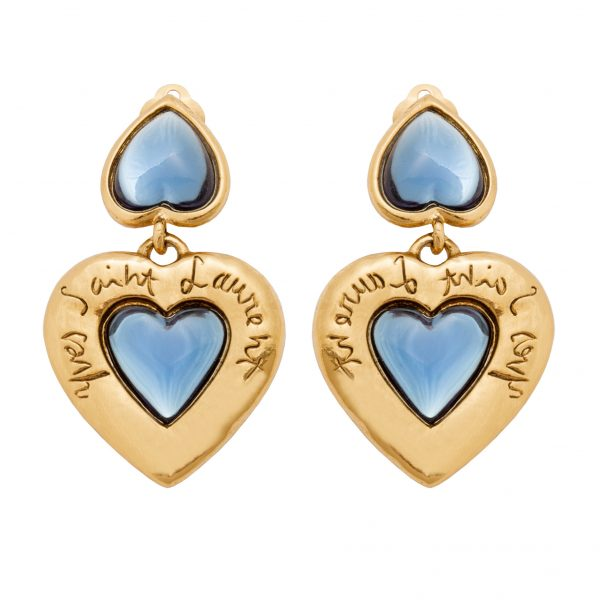 Vintage YSL signature blue heart drop earrings