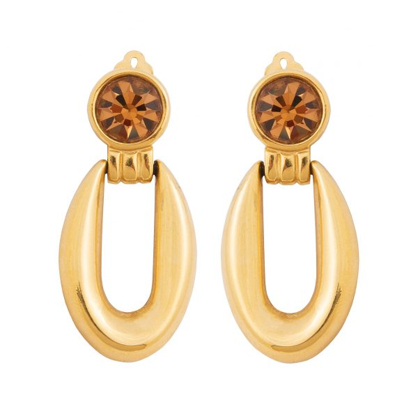 Vintage orange stone detail gold hoop earrings