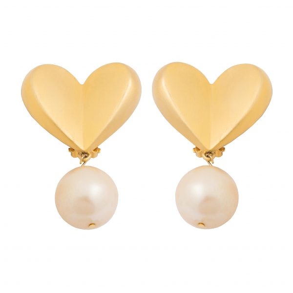 Vintage brushed gold earrings with pearls
