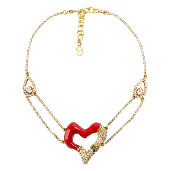 Vintage red heart detail necklace
