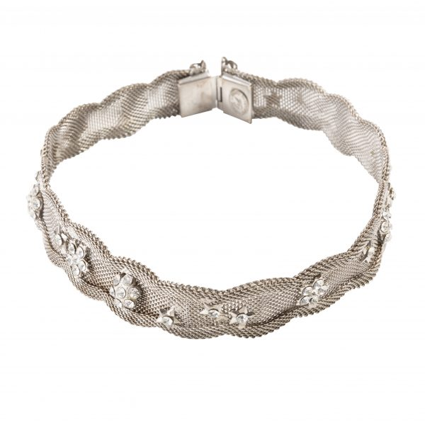 Vintage silver mesh star detail necklace