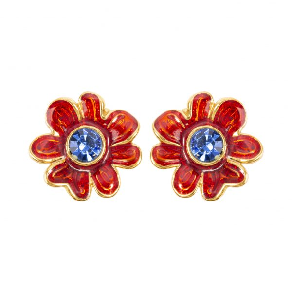 Vintage red flower blue stone earrings
