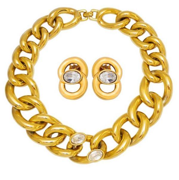 Vintage gold chain link set