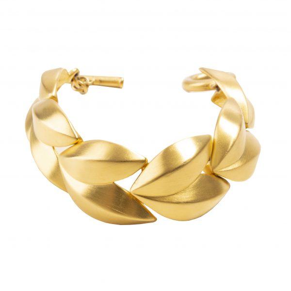 Vintage gold leaf bracelet
