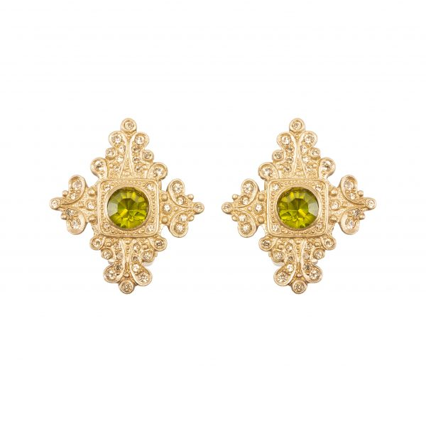 Vintage baroque shield earrings