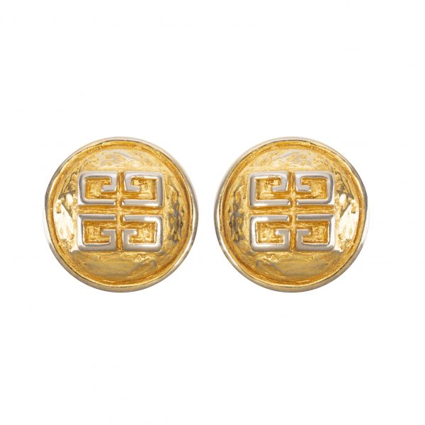 Vintage hammered gold round earrings