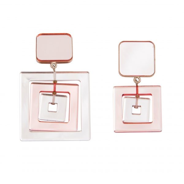 Mirrored pink square earrings
