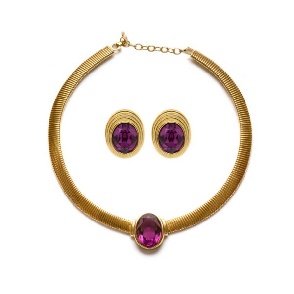Vintage purple stone gold set