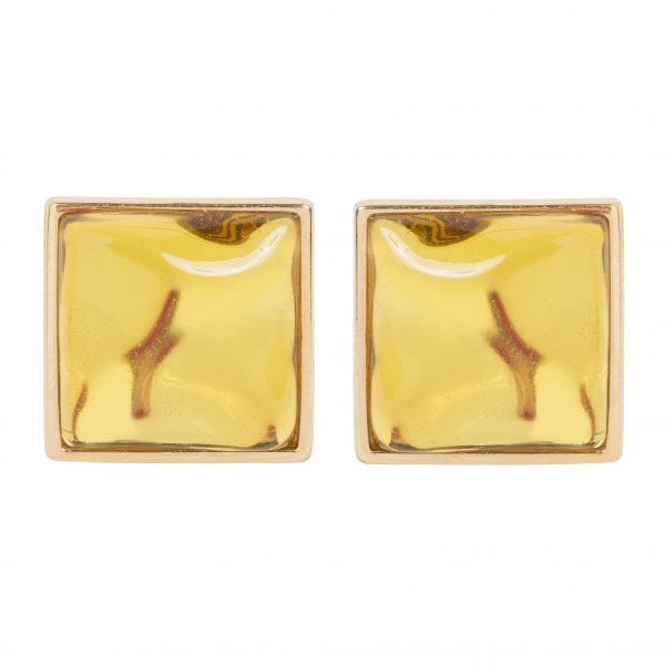 Vintage citrine stone Square earrings