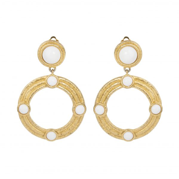 Vintage gold thread hoop earrings