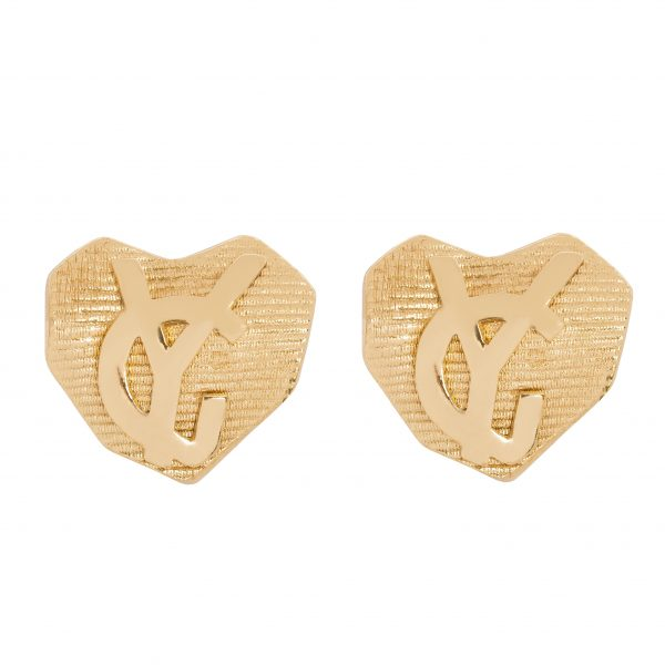 Vintage logo ribbed gold earrings