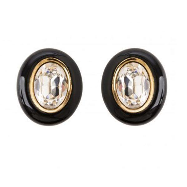 Vintage oval crystal earrings