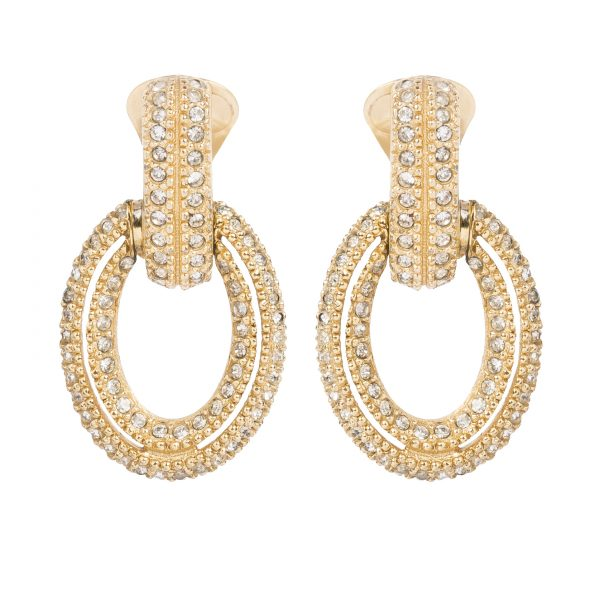 Vintage crystal gold hoop earrings