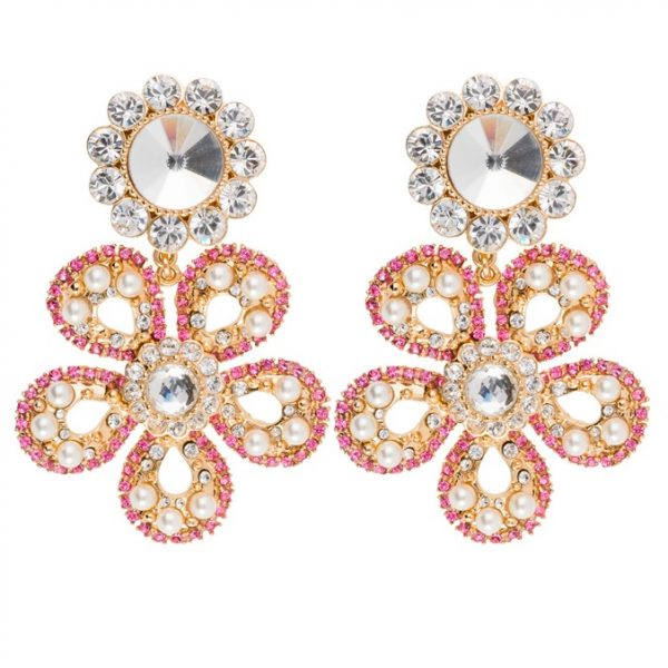 Crystal drop flower pink earrings