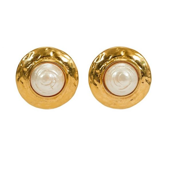 Vintage gold round pearl earrings