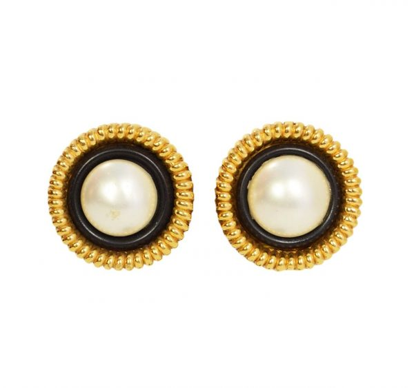 Vintage pearl earrings with gold edges