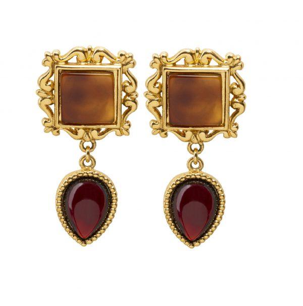 Vintage square dangle orange earrings