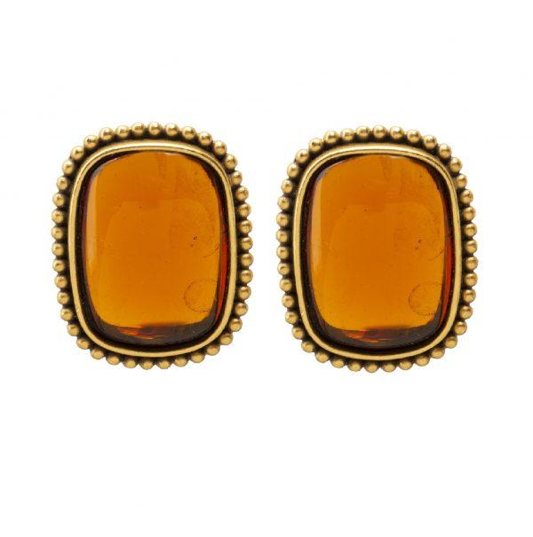 Vintage orange cabochon earrings