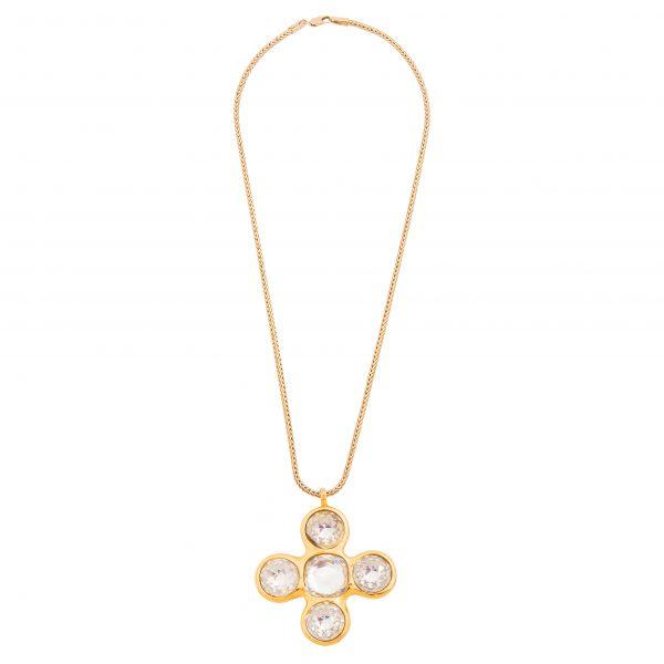 Vintage crystal cross necklace