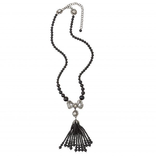 Vintage black pearl dangle necklace