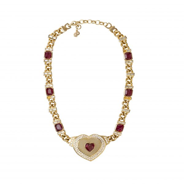 Vintage ruby heart necklace