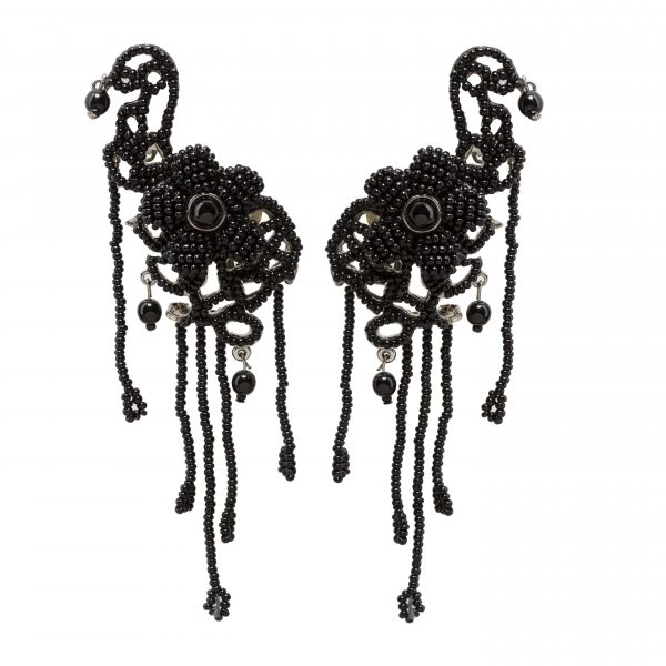 Vintage haute couture black pearl earrings