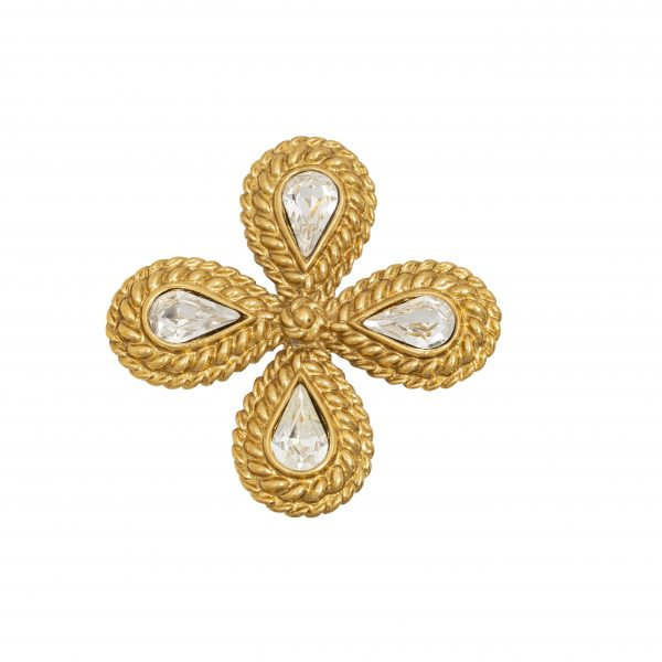 Vintage gold rope cross brooch