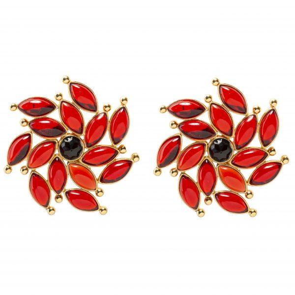 Vintage red sunray flower earrings