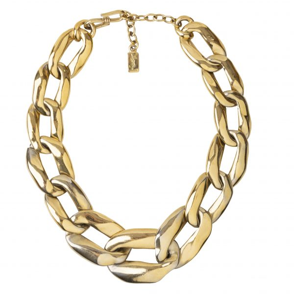 Vintage link chain gold necklace