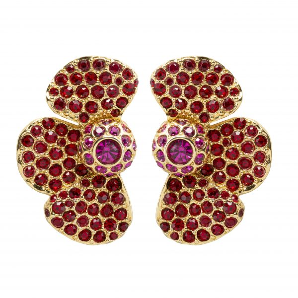 Vintage red half flower earrings