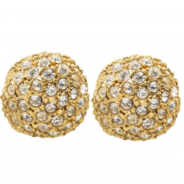Vintage rhinestone sphere earrings