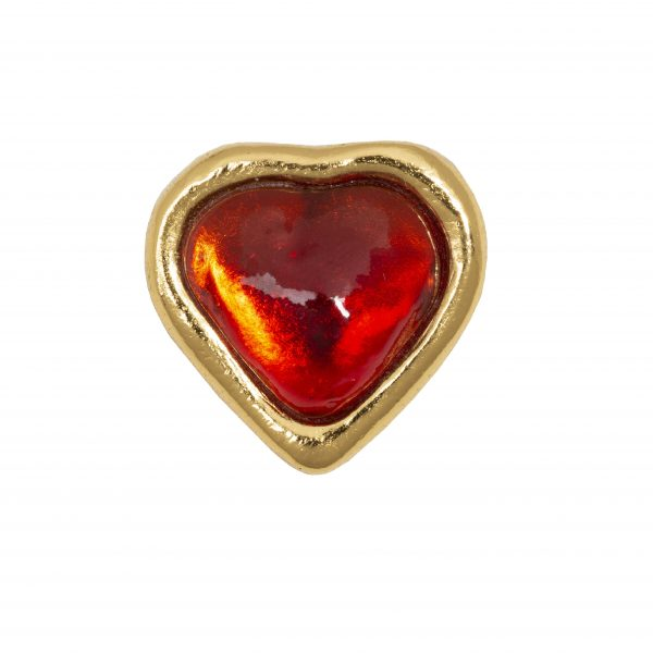 Vintage red stone heart brooch