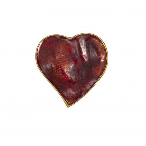 Vintage red enamel heart brooch