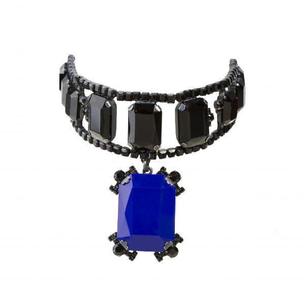 Rare blue stone black necklace