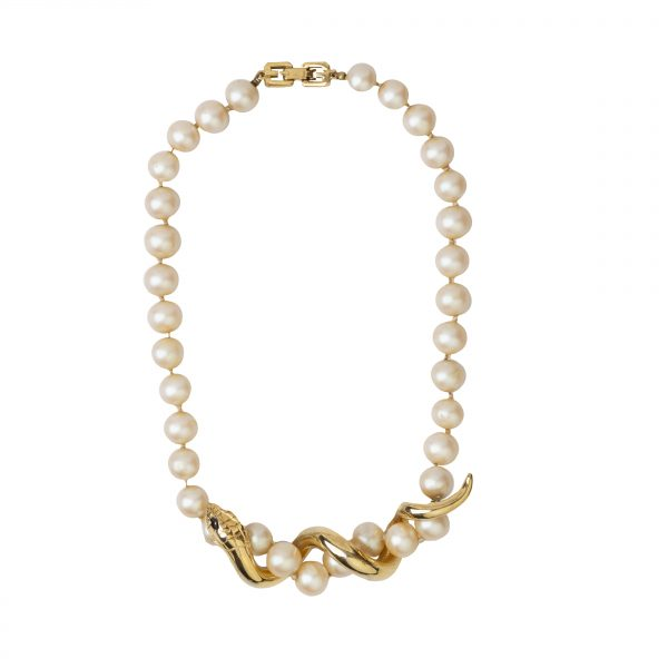 Vintage serpent pearl necklace