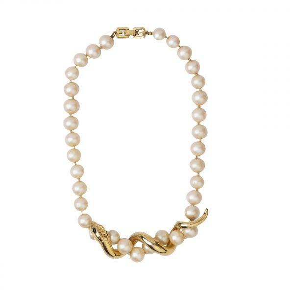 Vintage serpent pearl necklace