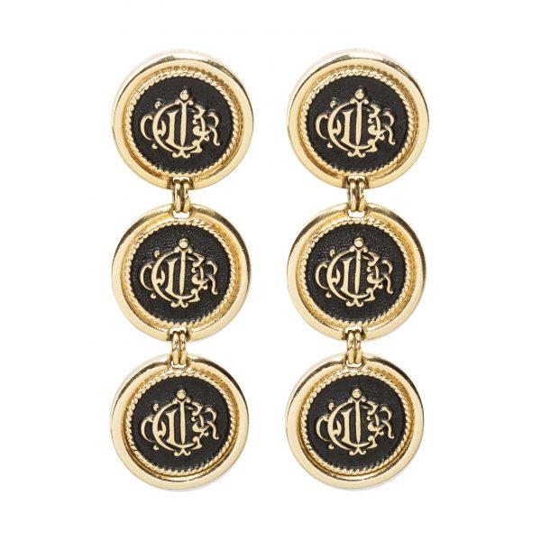 Vintage logo black rope earrings
