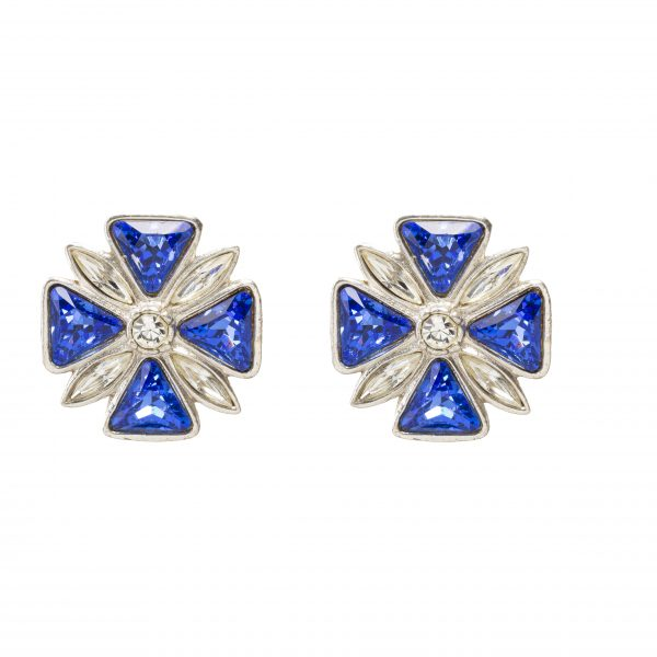 Vintage Maltese cross blue earrings