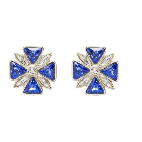 Vintage Maltese Cross blue Earrings