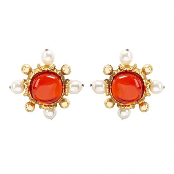 Vintage red stone pearl cross earrings