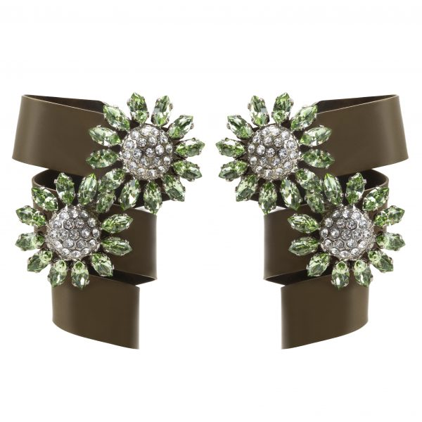 Green bow crystal flower earrings