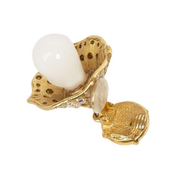 Yves Saint Laurent - vintage gold flower dangle earrings